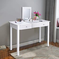 Giantex Vanity Table with Flip Top Mirror, Makeup Dressing Table Writing Desk with 2 Drawers and ...
