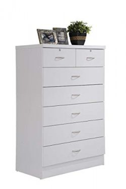 Hodedah HI70DR White Chest of Drawers with Locks