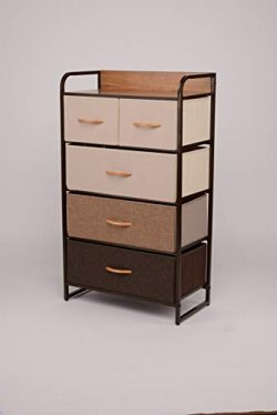 ORAF Vertical Tall Dresser Storage Chest with 5 Drawers – Sturdy Steel Frame Wood Top Furn ...