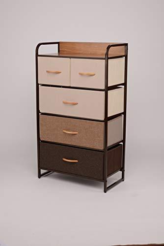 ORAF Vertical Tall Dresser Storage Chest with 5 Drawers – Sturdy Steel Frame Wood Top Furn ...