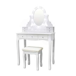 Vanity Set Oval Mirror Surrounds 10 Small Light Bulb and Cushioned Stool, LED Bulb and USB Plug, ...