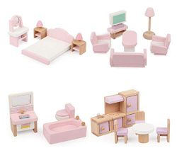 ZDYWY 22 Piece Wooden Doll House Furniture Toy Set for Kids Children – Bathroom Kitchen Be ...