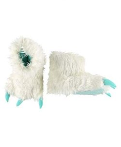 Yeti for Bed Animal Paw Slippers for Kids and Adults by LazyOne | Fun Fuzzy Costume Footwear (Large)
