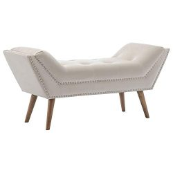 Chairus Upholstered Bedroom Bench with Armrest, Velvet Fabric Vanity Bench with Tufted Button &a ...