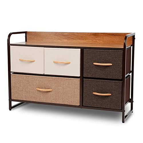 ORAF 5-Drawer Dresser, Sturdy Steel Frame, Wooden Top, Easy Pull Fabric Bins, Storage Tower Orga ...