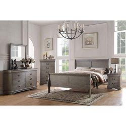 ACME Furniture Louis Philippe 23870F Full Bed, Antique Gray