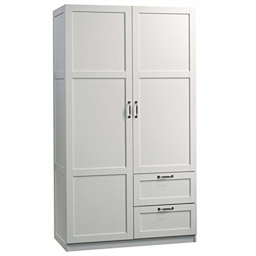 Pemberly Row 71″ 2-Drawer Wardrobe Armoire in White