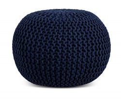 BIRDROCK HOME Round Pouf Foot Stool Ottoman – Knit Bean Bag Floor Chair – Cotton Bra ...