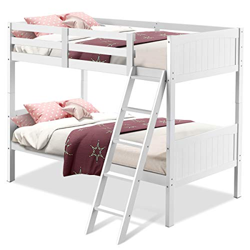 Costzon Wooden Twin Over Twin Bunk Beds Convertible 2 Individual Twin Beds for Kids Children, So ...