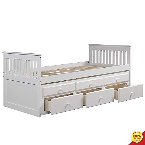 Captain's Twin Daybed with Trundle Bed and Storage Drawers, White
