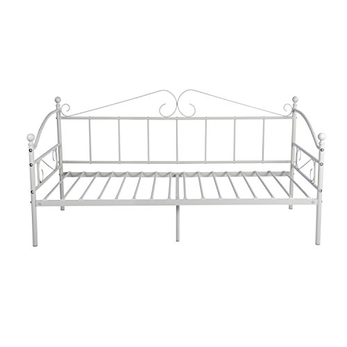 GreenForest Metal Daybed Twin Size with Headboard Metal Slats Support Bed Frame Mattress Foundat ...