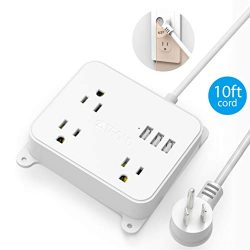 Power Strip with Long Cord, TROND Wall Mountable 10ft Outlet Extender with 3 USB Ports, 3 Widely ...