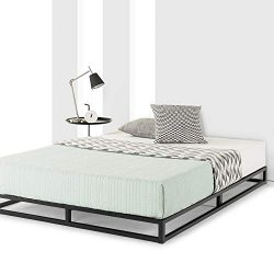 Mellow Queen Low Profile 6″ Metal Platform Bed Frame Type w/Classic Wooden Slat Support Ma ...