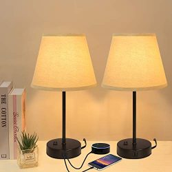 Innqoo Dual USB Table Lamp, Bedside Lamps Set of 2 with Fabric Shade, Small Nightstand Lamps for ...