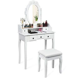 CHARMAID Vanity Set with Oval Mirror and 5 Drawers, Storage Shelf, Modern Bedroom Wood Dressing  ...