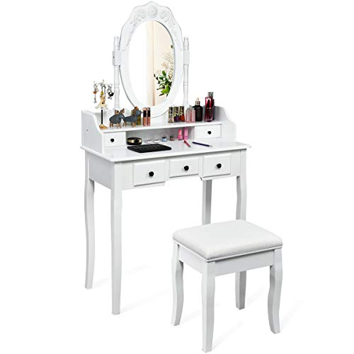 CHARMAID Vanity Set with Oval Mirror and 5 Drawers, Storage Shelf, Modern Bedroom Wood Dressing  ...