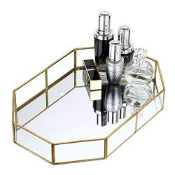 Hipiwe Gold Mirrored Makeup Tray Gold Metal Decorative Jewelry Tray Vanity Cosmetic Perfume Orga ...