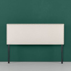 Zinus Jake Upholstered Nailhead Rectangular Headboard in Taupe, Full