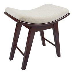 Vanity Stool, Modern Makeup Dressing Stool with Concave Seat Surface, Padded Bench with Rubberwo ...
