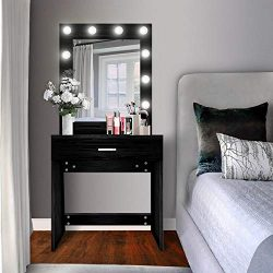 US Shipping Vanity Set with Lighted Mirror, YEEGO Makeup Vanity Dressing Table Dresser Writing D ...