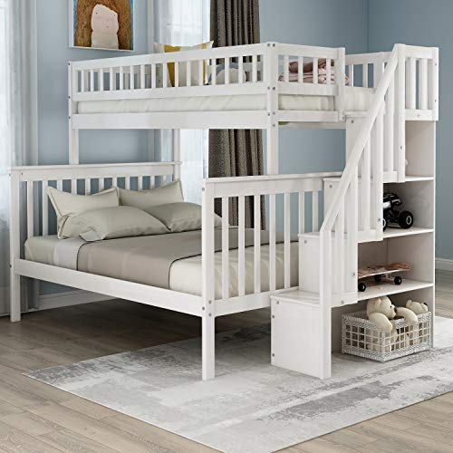 Twin-Over-Full Bunk Bed with Storage and Stair Loft for Kids (White(lp))