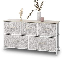 Dresser with 5 Drawers, Extra Wide Dresser Storage Tower, Storage Organizer Unit for Bedroom, Ha ...