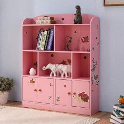 Emall Life Kids Large Bookcase with DIY Sticker Book and Toy Storage Organizer Bookshelf with 4  ...