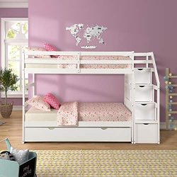 ALI VIRGO Solid Wood, Hardwood Twin Over Two Bunk Bed Frame with Staircase and 4 Storage Drawers ...