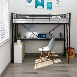 DUMEE Twin Over Loft Metal Bunk Bed with Ladder Beds Bedroom Dorm Black