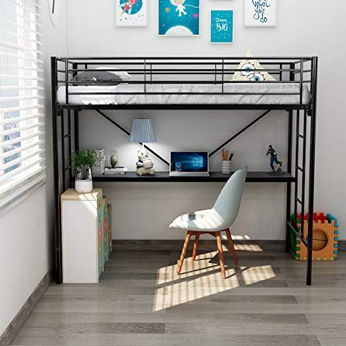DUMEE Twin Over Loft Metal Bunk Bed with Ladder Beds Bedroom Dorm Black