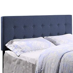 HOME BI Upholstered Tufted Button Linen Fabric Headboard Full/Queen Size, Blue