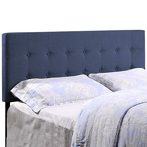 HOME BI Upholstered Tufted Button Linen Fabric Headboard Full/Queen Size, Blue