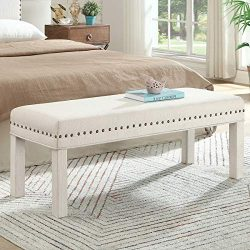 24KF Upholstered Bed Bench with Nail Head Trim,Padded Tufted Bench -Ivory