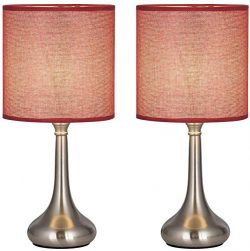 Nightstand Table Desk Lamps Set of 2, Vintage Bedside Metal Body Lamp with Fabric Shade for Livi ...