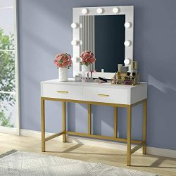 Tribesigns Vanity Table with Lighted Mirror, Makeup Vanity Dressing Table with 9 Lights and 2 Dr ...
