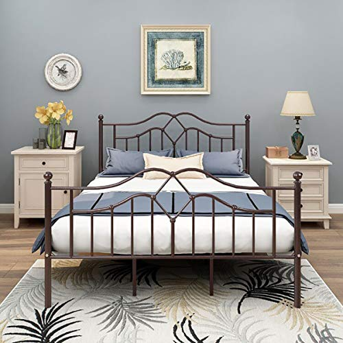 alazyhome Metal Bed Frame Queen Size Platform No Box Spring Needed with Vintage Headboard and Fo ...