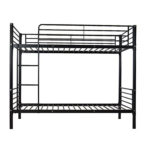 Miyahome Twin Over Twin Metal Bunk Bed with Heavy Duty Frame, Ladder & Safety Rails for Kids ...