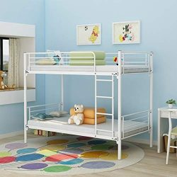 Bunk Bed Modern Style Metal Bed Frame Platform with Steel Slats Support No Box Spring Needed, He ...