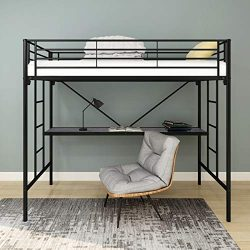 HOMERECOMMEND Metal Bunk Bed with Desk Loft Bed with Ladder and Safety Rails Black Finish Room D ...