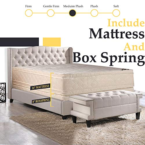 14-Inch Firm Double sided Innerspring Foam Encased Eurotop Pillowtop Mattress And 8-Inch Fully A ...