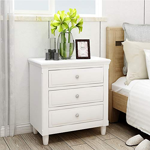 Suwikeke, Nightstand Three Drawers, Wood Bedside Storage Cabinet Furniture Fully Assembled, Acce ...
