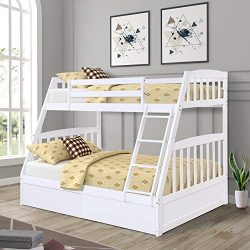 Twin-Over-Full Bunk Bed, Solid Wood Bed Frame with Ladders and Storage Drawers, Whtie