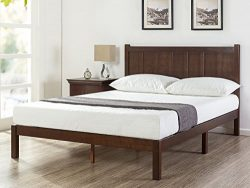 Zinus Adrian Wood Rustic Style Platform Bed with Headboard / No Box Spring Needed / Wood Slat Su ...