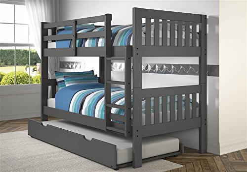 Donco Kids 1010-3TTDG_503-DG Mission Bunk Bed withTrundle Twin/Twin Dark Grey