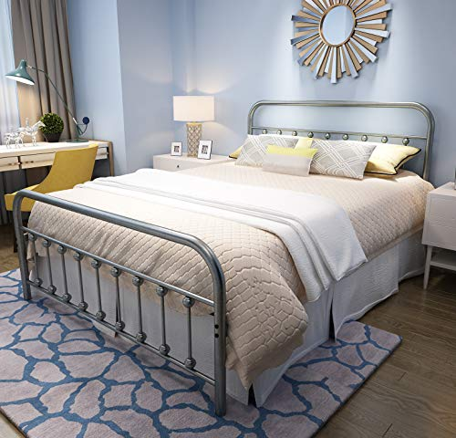 YALAXON Vintage Sturdy Queen Size Metal Bed Frame with Headboard and Footboard Basic Bed Frame N ...
