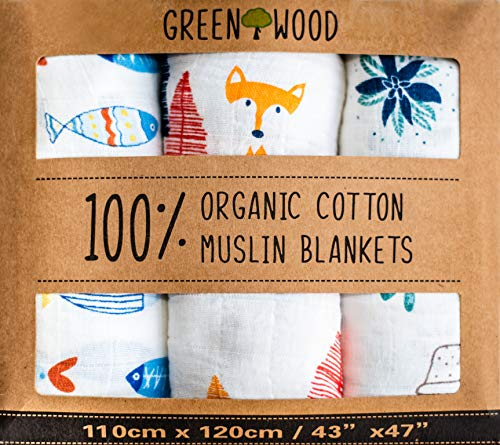 Organic Swaddle Blanket – 100% Organic Cotton – 3 Pack 43″ x 47″ Ultraso ...