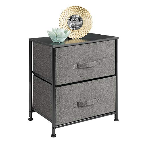 mDesign Vertical Dresser Storage Tower – Sturdy Steel Frame, Wood Top, Easy Pull Fabric Bi ...