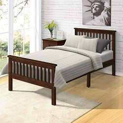 Wood Platform Bed with Headboard/Footboard/Wood Slat Support/No Box Spring Needed Twin (Espresso.)