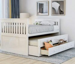 Twin Captain's Bed Storage daybed with Trundle and Drawers for Kids Guests (White)