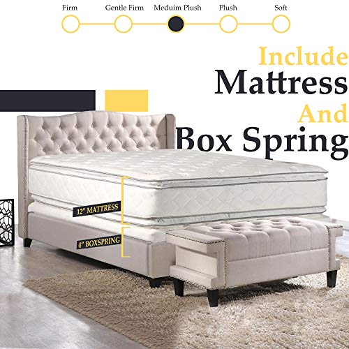 Double sided Pillowtop Innerspring Fully Assembled Mattress And 4-Inch Wood Box Spring/Foundatio ...